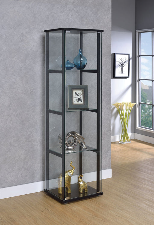 4-Shelf Glass Curio Cabinet Black And Clear - Canales Furniture
