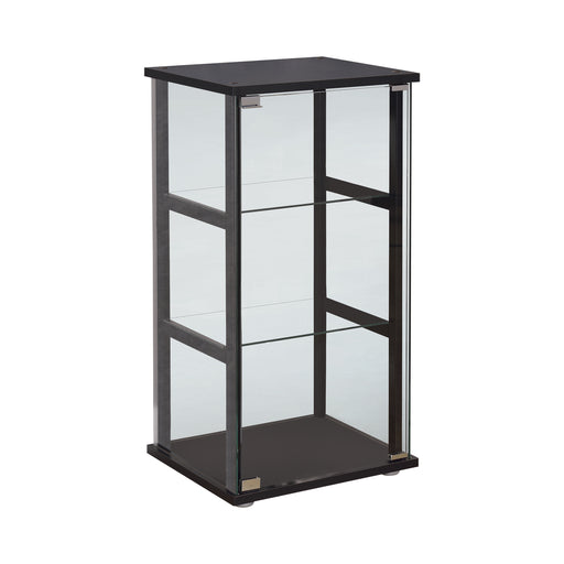 3-Shelf Glass Curio Cabinet Black And Clear - Canales Furniture