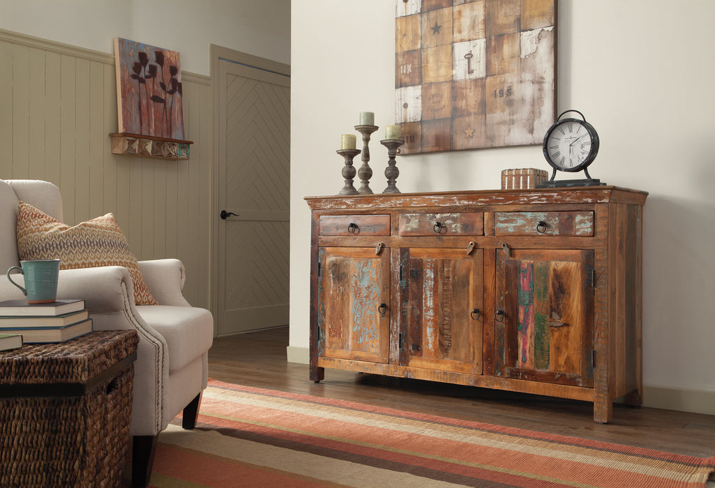 3-Door Accent Cabinet Reclaimed Wood - Canales Furniture