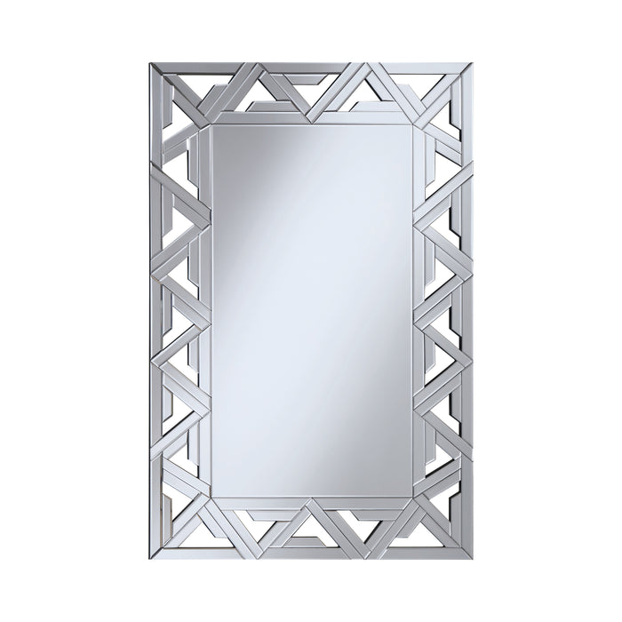 Rectangular Geometric Wall Mirror Silver - Canales Furniture