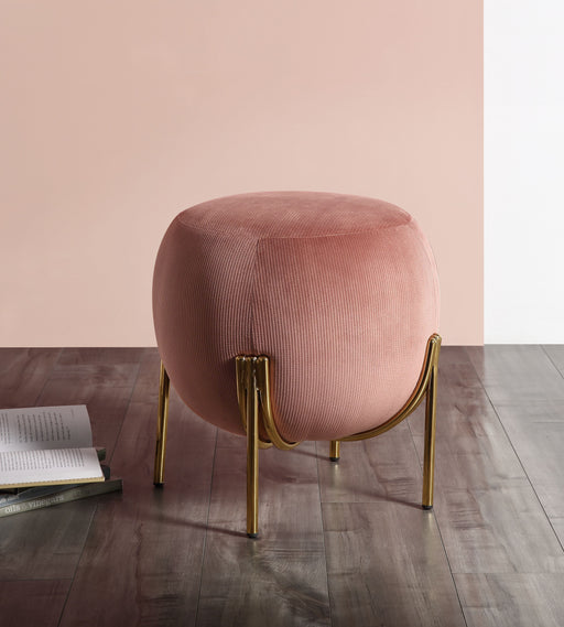 Spraxis Dusty Rose Corduroy Ottoman - Canales Furniture