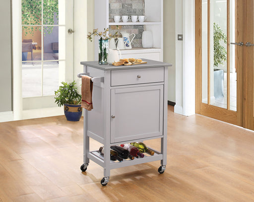 Hoogzen Stainless Steel & Gray Kitchen Cart - Canales Furniture