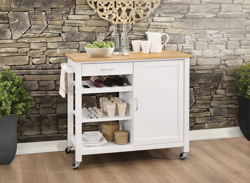 Ottawa Natural & White Kitchen Cart - Canales Furniture