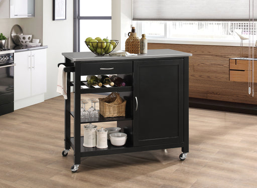 Ottawa Stainless Steel & Black Kitchen Cart - Canales Furniture