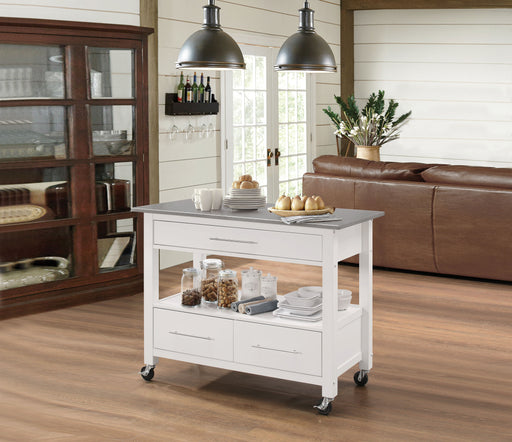 Ottawa Stainless Steel & White Kitchen Cart - Canales Furniture