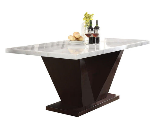 Forbes White Marble & Walnut Dining Table - Canales Furniture