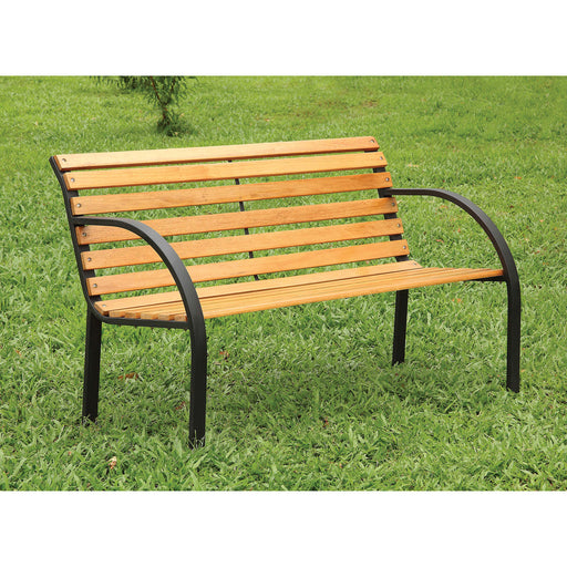 DUMAS Oak/Black Patio Wooden Bench - Canales Furniture