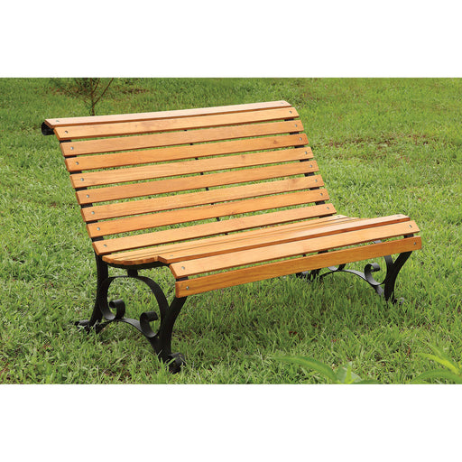 SEDONA Oak/Black Patio Wooden Bench - Canales Furniture