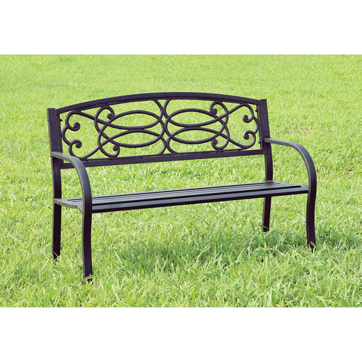 POTTER Black Patio Steel Bench - Canales Furniture