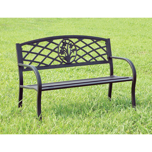 MINOT Black Patio Steel Bench - Canales Furniture