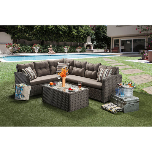MOURA Mocha Patio Sectional + Table - Canales Furniture