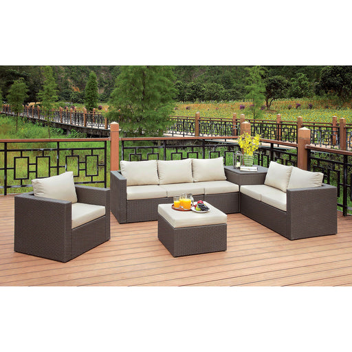 DAVINA Brown/Beige Patio Sectional w/ Ottoman - Canales Furniture