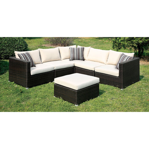 ABION Ivory/Espresso Patio Sectional - Canales Furniture