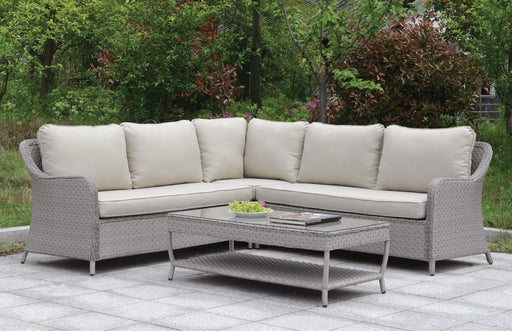 Cogswell Gray/Beige Patio Sectional w/ Coffee Table - Canales Furniture