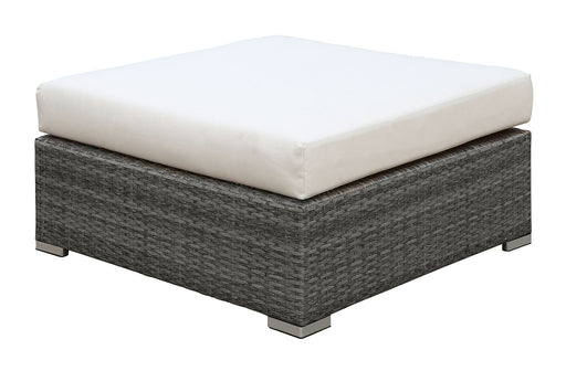 SOMANI Light Gray Wicker/Ivory Cushion Large Ottoman - Canales Furniture