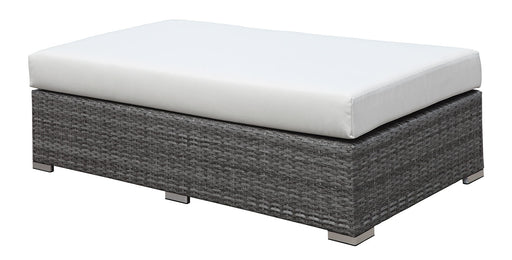 SOMANI Light Gray Wicker/Ivory Cushion Bench - Canales Furniture