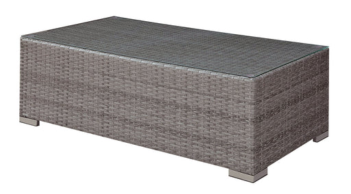 SOMANI Light Gray Wicker/Ivory Cushion Coffee Table - Canales Furniture