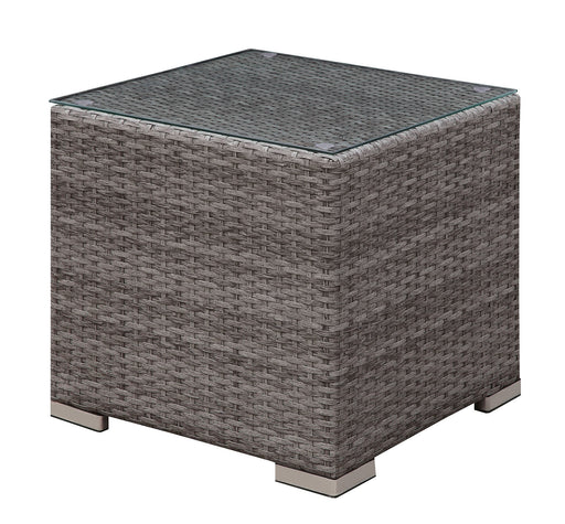 SOMANI Light Gray Wicker/Ivory Cushion End Table - Canales Furniture
