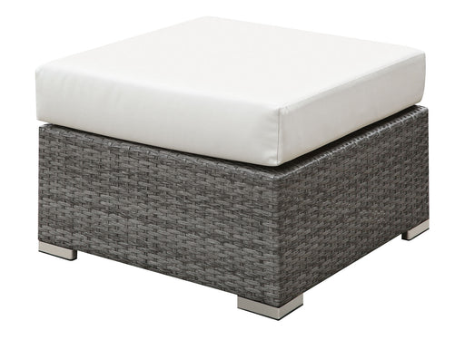 SOMANI Light Gray Wicker/Ivory Cushion Small Ottoman - Canales Furniture