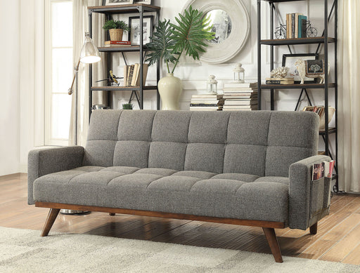 Nettie Gray/Oak Futon Sofa - Canales Furniture