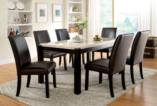 GLADSTONE I Dark Walnut/Ivory Dining Table - Canales Furniture