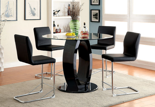 LODIA II Black 5 Pc. Round Dining Table Set - Canales Furniture