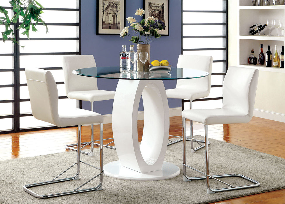 LODIA II White Round Counter Ht. Table - Canales Furniture