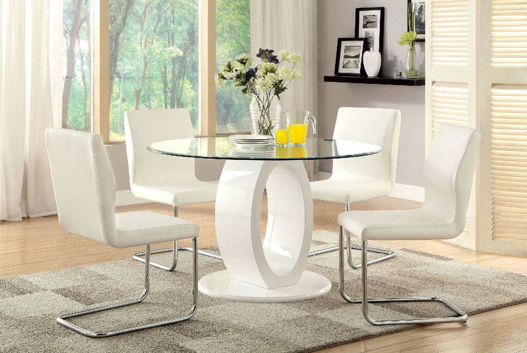 LODIA I White 5 Pc. Round Dining Table Set - Canales Furniture