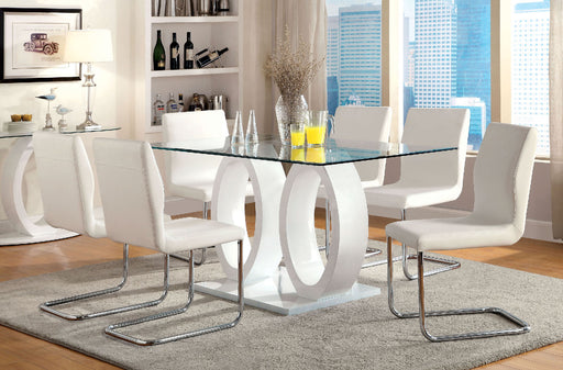 LODIA I White 7 Pc. Dining Table Set - Canales Furniture