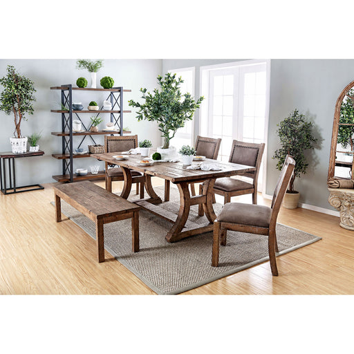 "GIANNA Rustic Oak 77"" Dining Table - Canales Furniture"