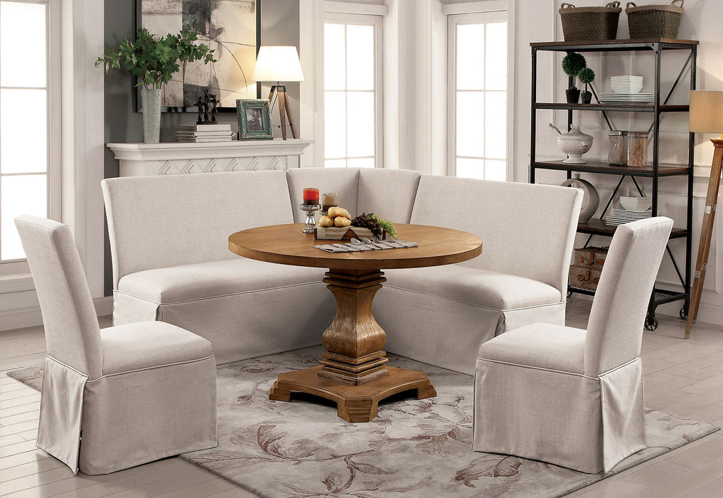 Nerissa Rustic Oak 6 Pc. Round Dining Table Set w/ Corner Bench - Canales Furniture