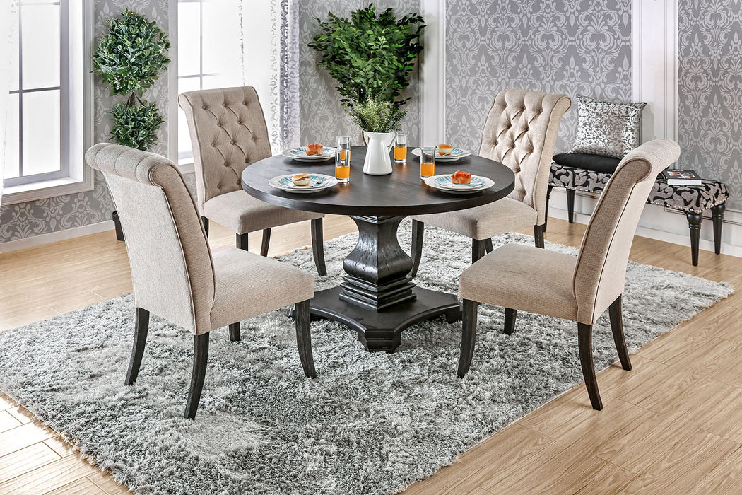 Nerissa Antique Black, Gray 4 Pc. Dining Table Set w/ Bench - Canales Furniture