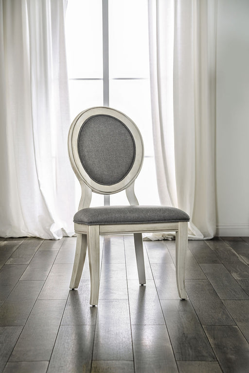 Kathryn Antique White/Gray Side Chair, Antique White (2/CTN) - Canales Furniture