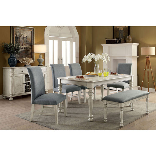 Kathryn Antique White Dining Table, Antique White - Canales Furniture