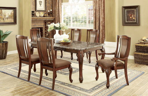JOHANNESBURG I Brown Cherry, Brown 7 Pc. Dining Table Set (2AC+4SC) - Canales Furniture