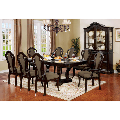 Rosalina Walnut 9 Pc. Dining Table Set (2AC+6SC) - Canales Furniture