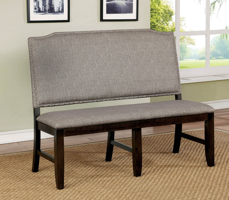 Teagan Dark Walnut/Gray Bench - Canales Furniture