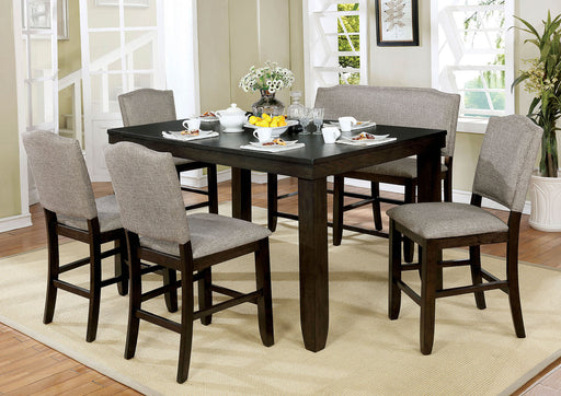 Teagan Dark Walnut 6 Pc. Dining Table Set w/ Bench - Canales Furniture