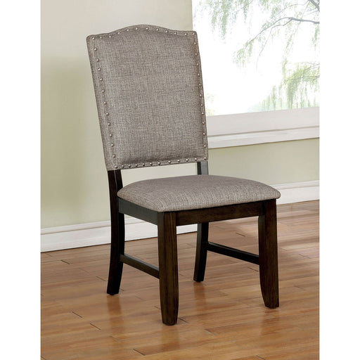 Teagan Dark Walnut/Gray Side Chair (2/CTN) - Canales Furniture