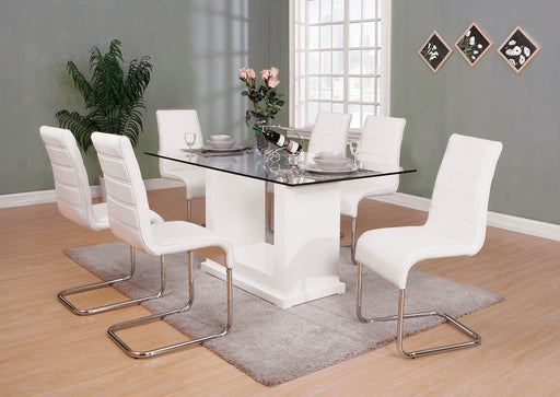 Eva White/Clear 7 Pc. Dining Table Set - Canales Furniture
