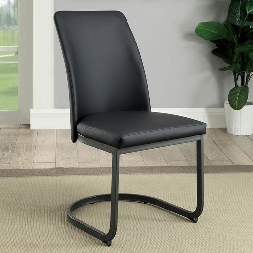 Saskia Dark Gray/Black Side Chair (2/CTN) - Canales Furniture