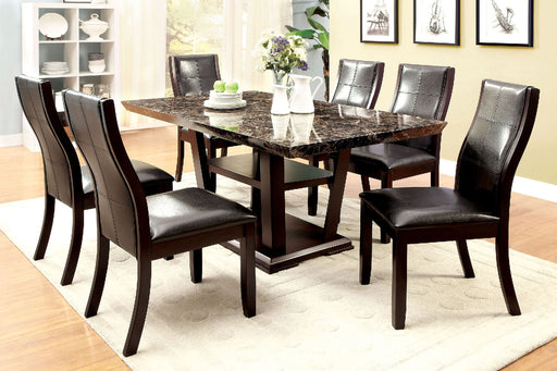 CLAYTON I Dark Cherry/Black 7 Pc. Dining Table Set - Canales Furniture