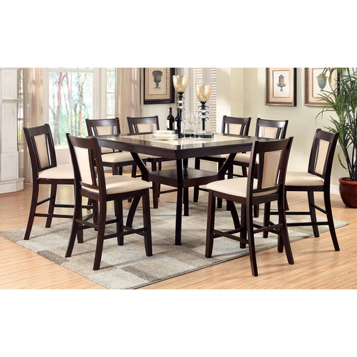 BRENT II Dark Cherry 7 Pc. Counter Ht. Dining Table Set - Canales Furniture