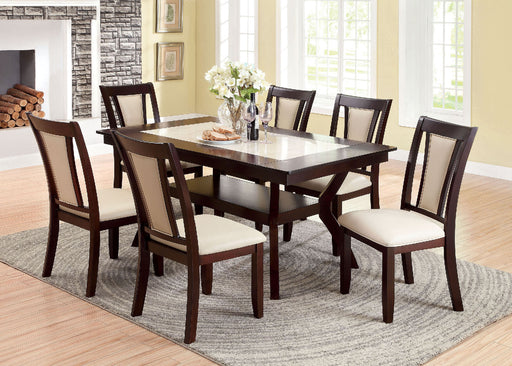 BRENT Dark Cherry/Ivory Dining Table - Canales Furniture