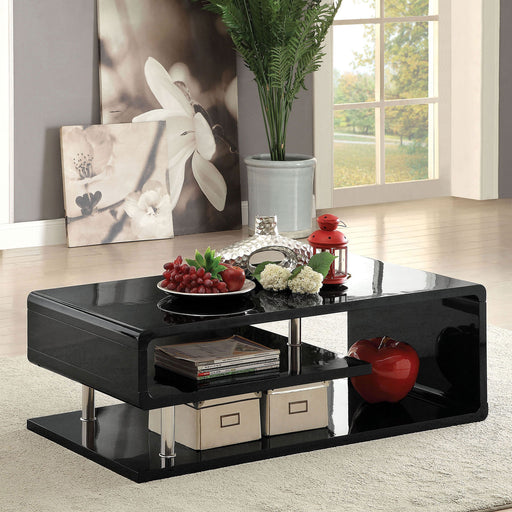 Ninove Black/Chrome Coffee Table - Canales Furniture