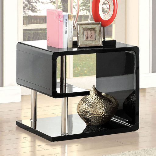 Ninove Black/Chrome End Table - Canales Furniture