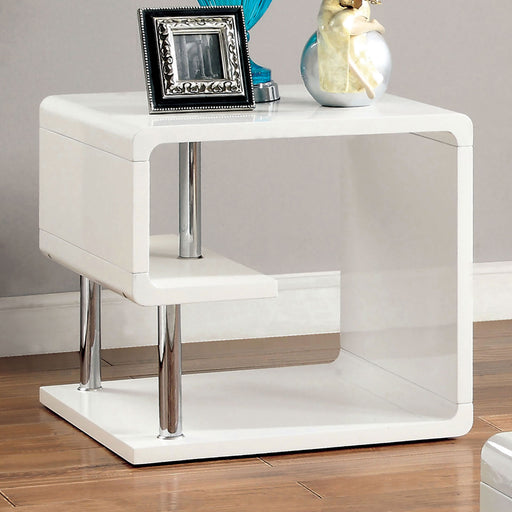 Ninove I White/Chrome End Table - Canales Furniture