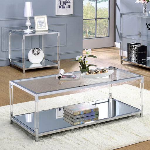 Ludvig Chrome/Clear Coffee Table - Canales Furniture