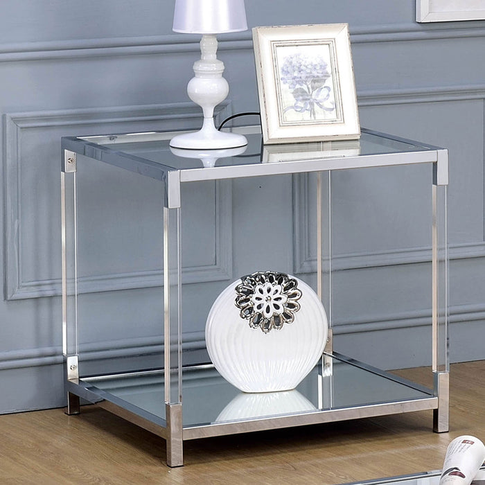 Ludvig Chrome/Clear End Table - Canales Furniture