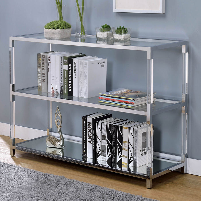 Ludvig Chrome/Clear Sofa Table - Canales Furniture